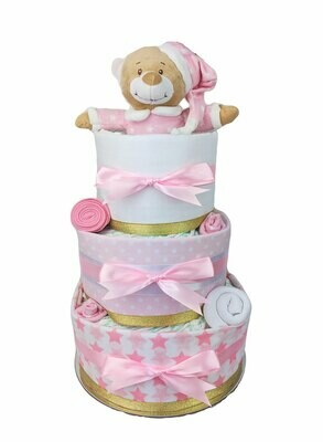 Three Tier Pink & Gold Starbright Nappy Cake