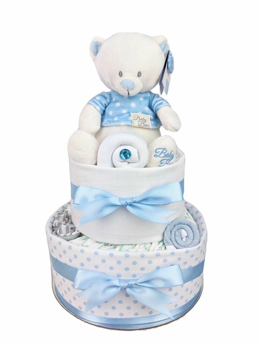 Two Tier Spotty Blue Teddy Nappy Cake