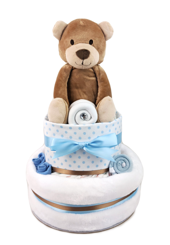 Two Tier Brown Bear Nappy Cake