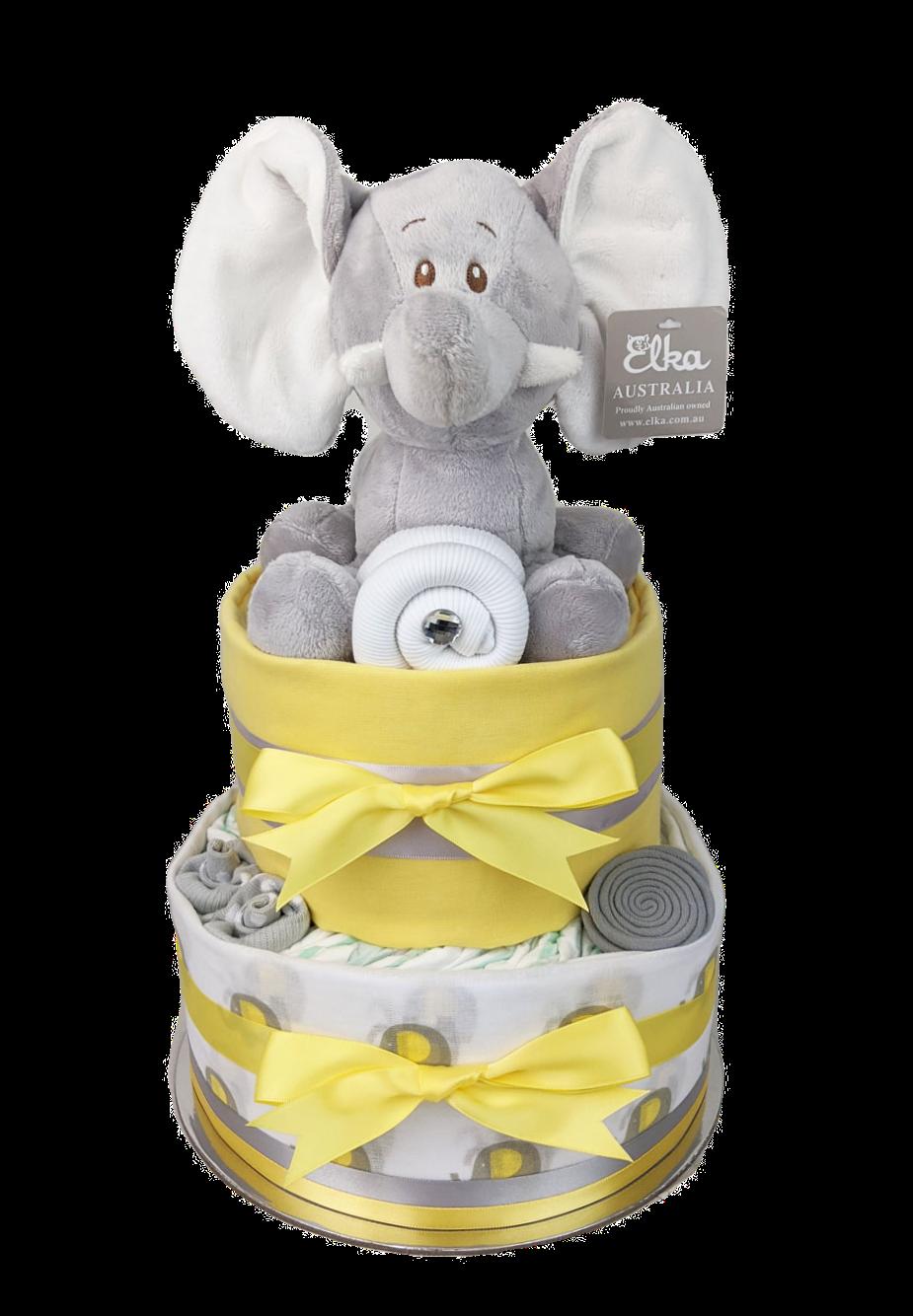 Two Tier Yellow Elephant Nappy Cake