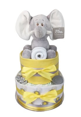 Two Tier Yellow Elephant Nappy Cake