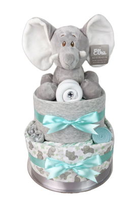 Two Tier Mint and Grey Elephant Nappy Cake