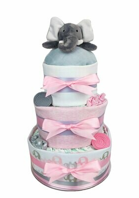 Three Tier Pink Elephant Nappy Cake