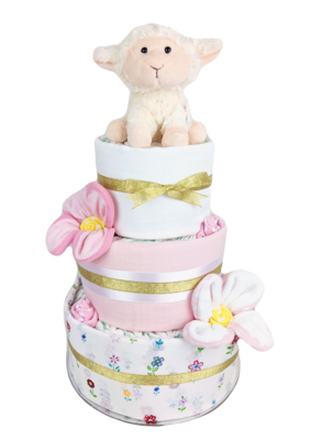 Three Tier Floral Lamb Nappy Cake