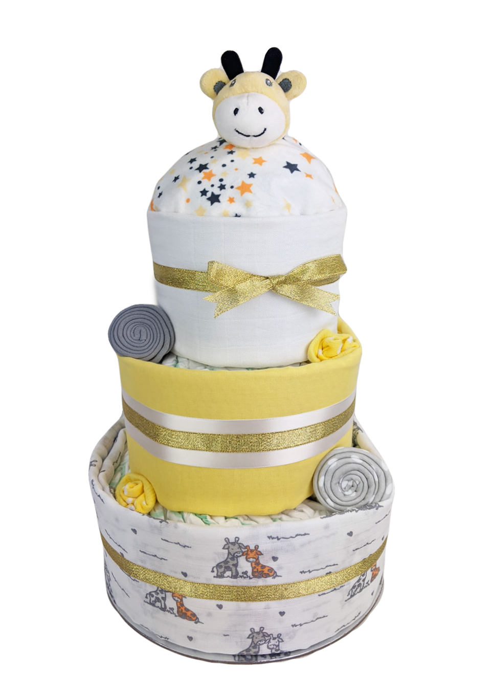 Three Tier Grey and Gold Giraffe Nappy Cake
