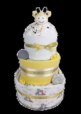 Three Tier Grey and Gold Giraffe Nappy Cake