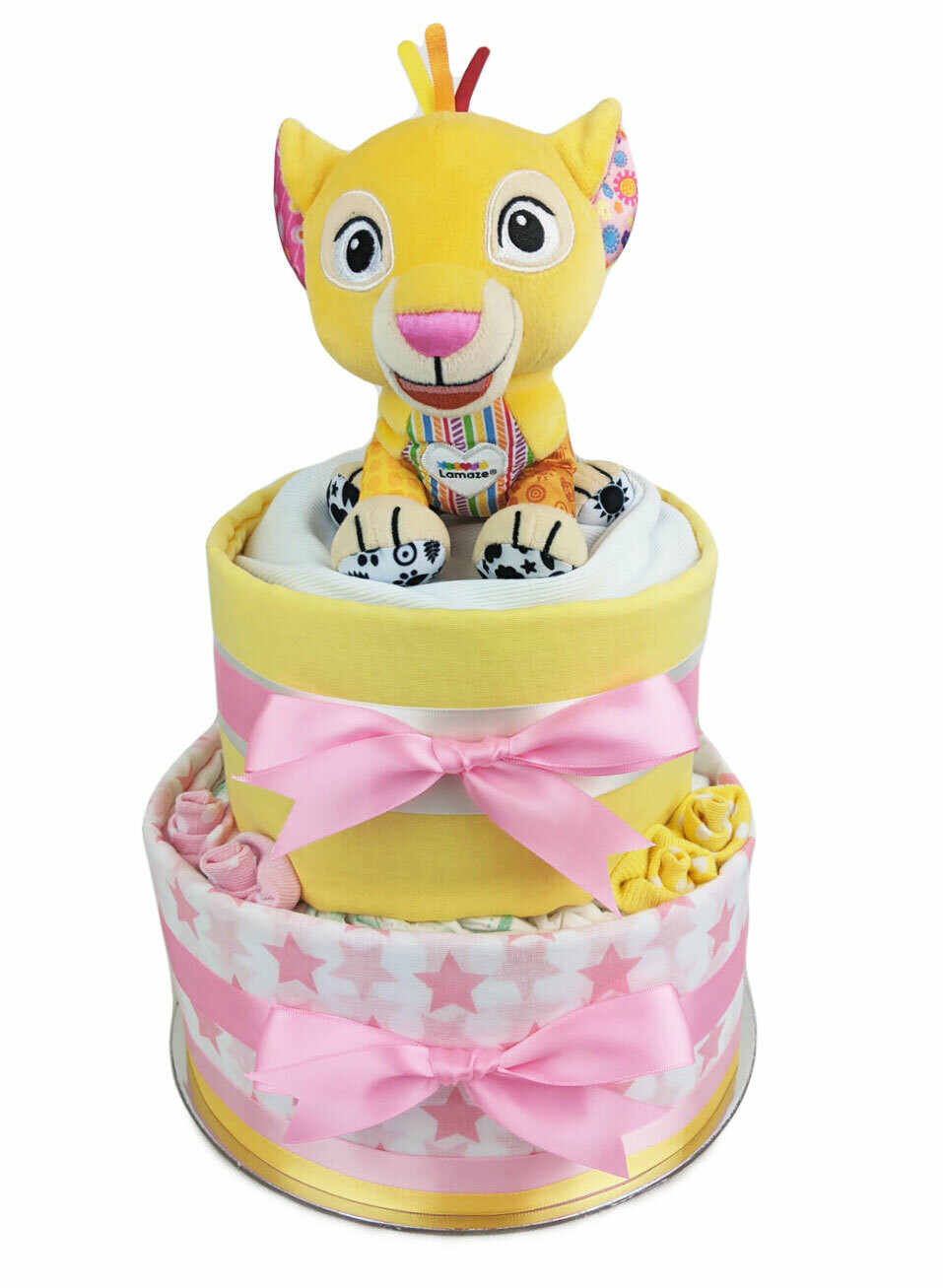 Two Tier Pink and Yellow Nala Nappy Cake