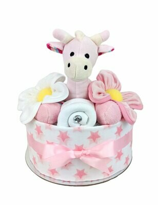 One Tier Pink Giraffe Nappy Cake