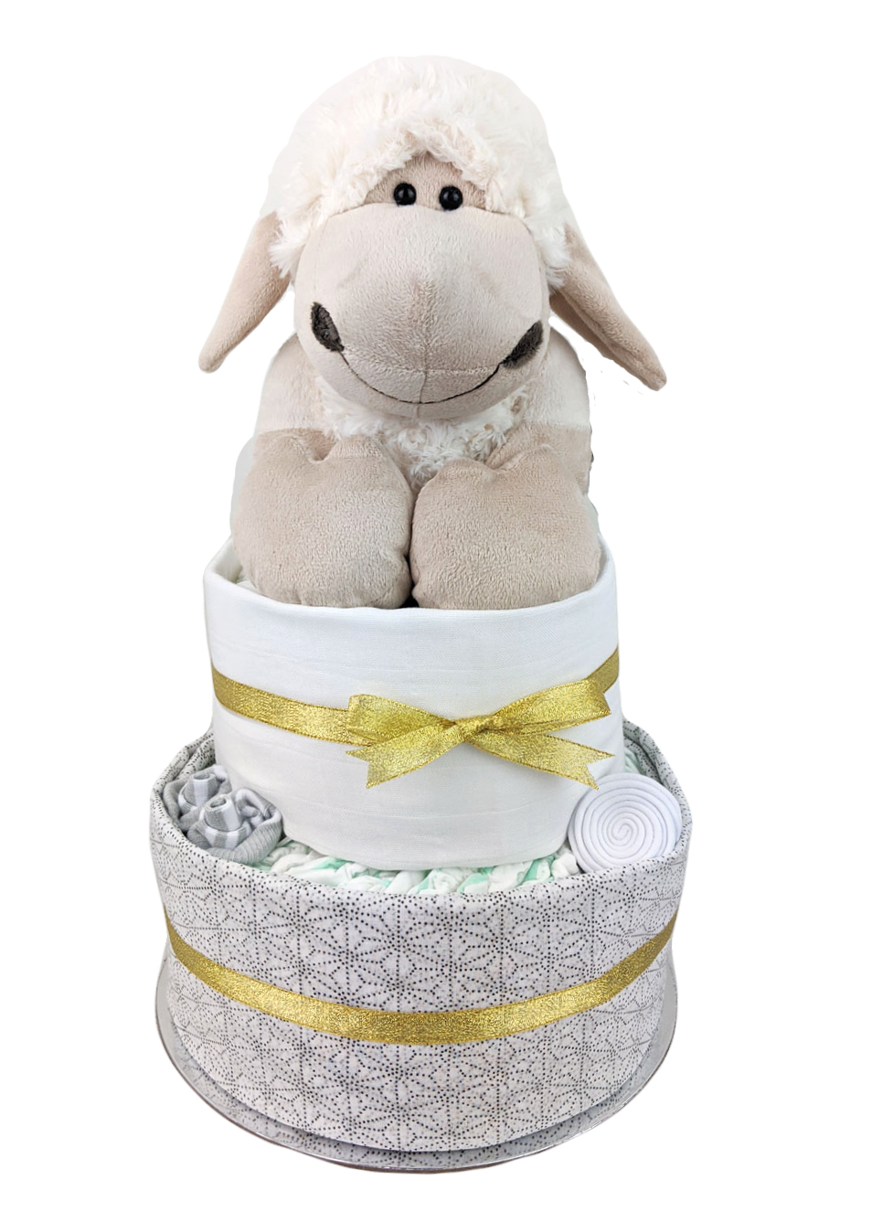 Two Tier White, Grey & Gold Baby Lamb Nappy Cake