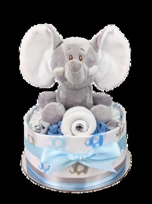 One Tier Blue Elephant Nappy Cake