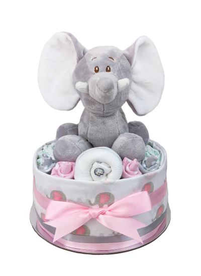One Tier Pink and Grey Elephant Nappy Cake