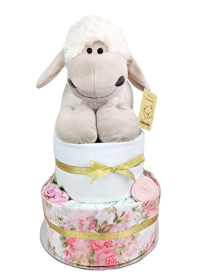 Two Tier Floral Lamb Nappy Cake