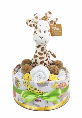 One Tier Neutral Giraffe Nappy Cake