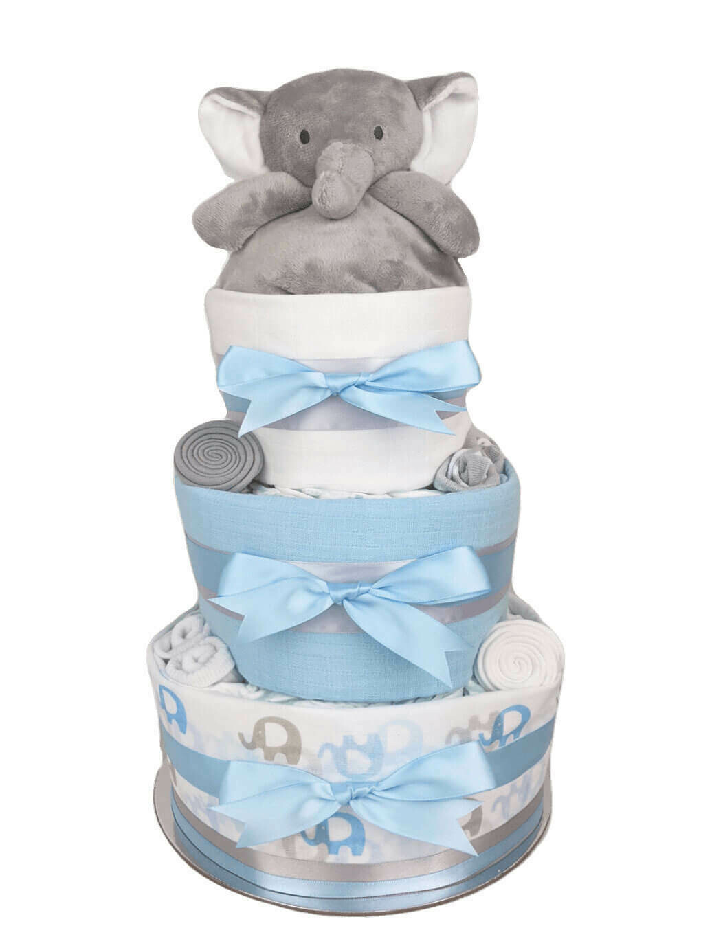 Three Tier Blue Elephant Nappy Cake