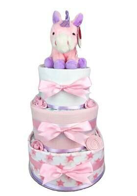 Three Tier Pink and Purple Unicorn Nappy Cake