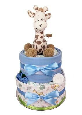 Two Tier Baby Giraffe Nappy Cake