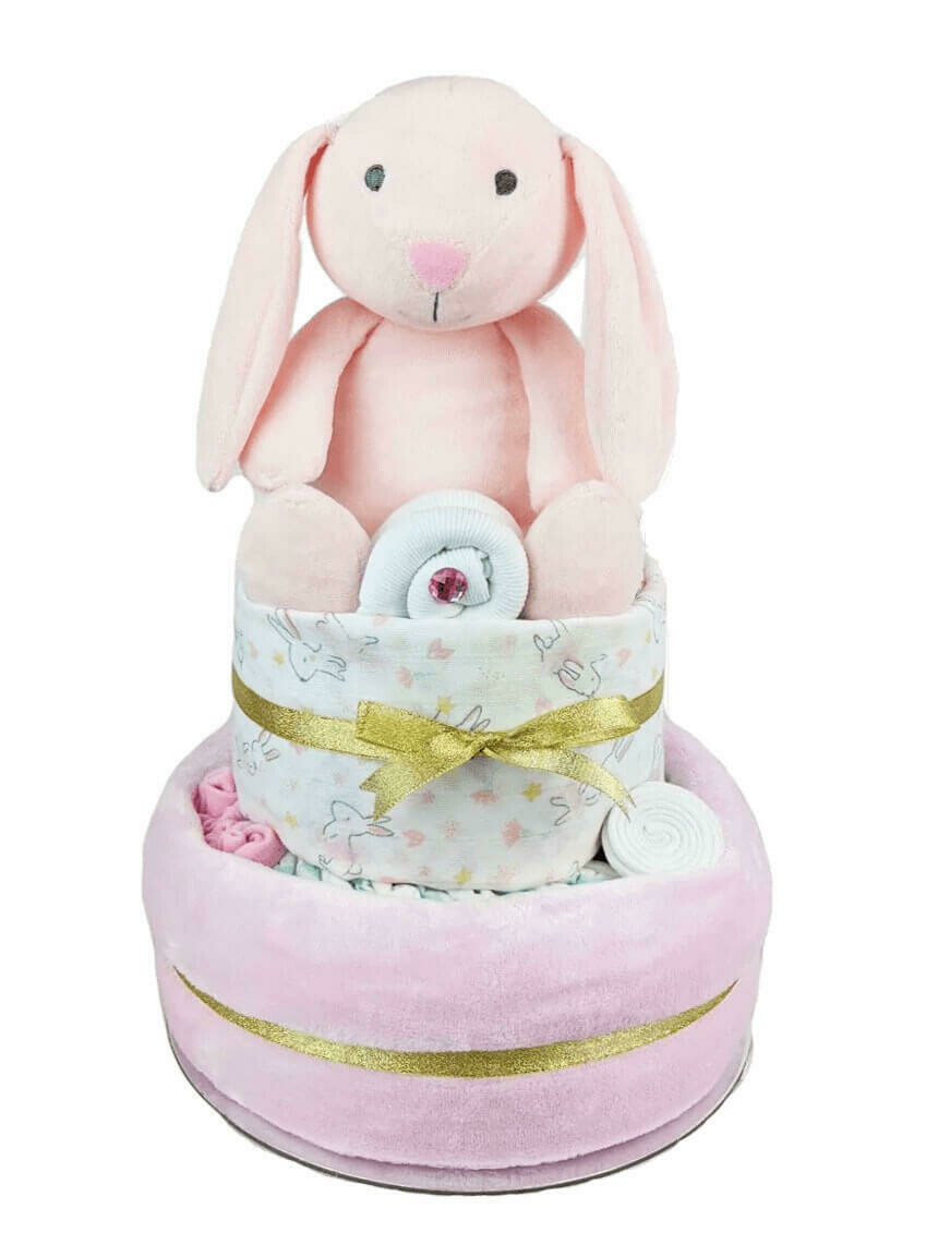 Two Tier Pink and Gold Bunny Nappy Cake