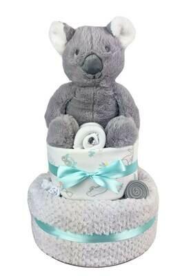 Two Tier Mint Baby Koala Nappy Cake