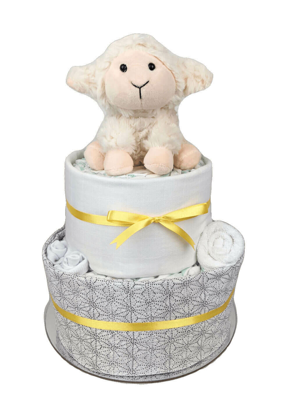 Two Tier Neutral Baby Lamb Nappy Cake