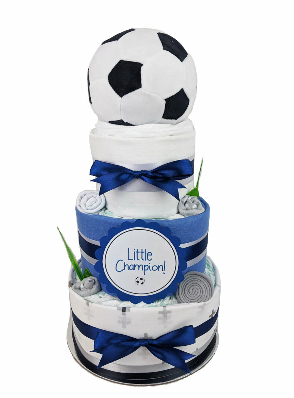 Three Tier My First Soccer Ball Nappy Cake
