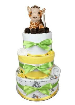 Three Tier Neutral Jungle Nappy Cake