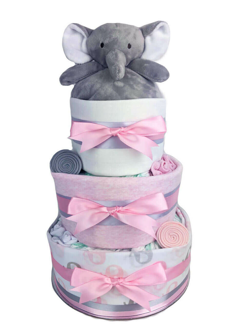 Three Tier Pink Elephant Nappy Cake