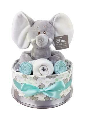 One Tier Mint & Grey Elephant Nappy Cake