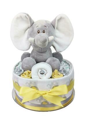 One Tier Yellow & Grey Elephant Nappy Cake