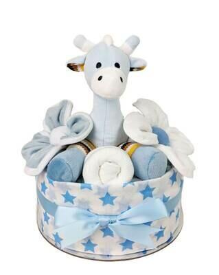 One Tier Blue Giraffe Nappy Cake