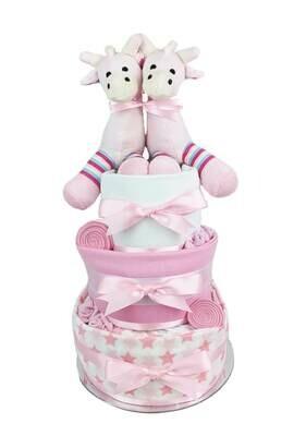 Three Tier Baby Girl Twin Giraffe Nappy Cake