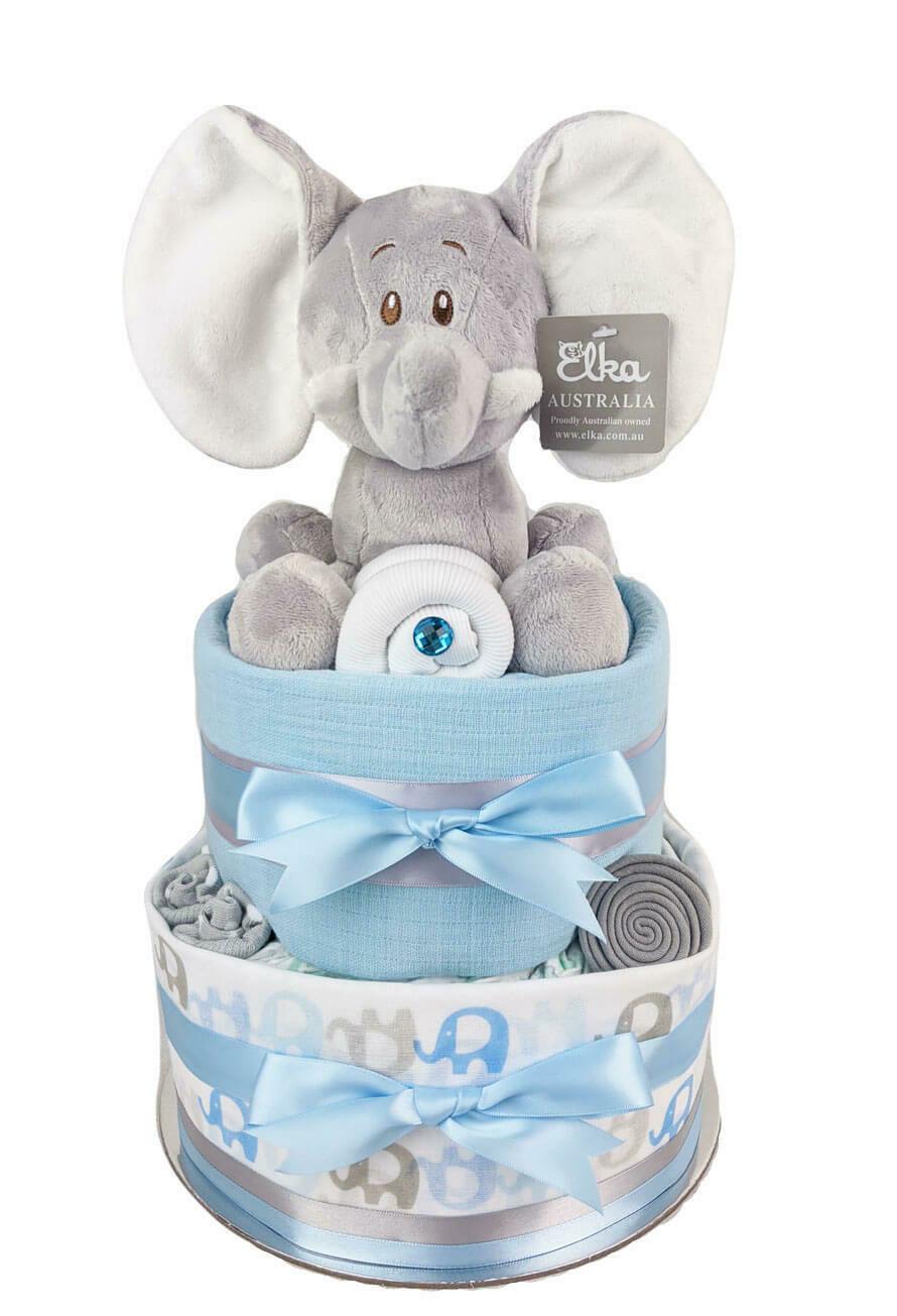 Two Tier Blue Elephant Nappy Cake