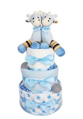 Three Tier Baby Boy Twin Giraffe Nappy Cake