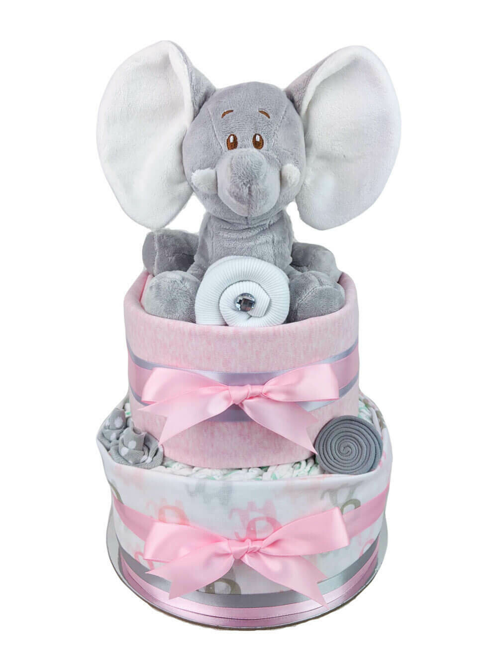 Two Tier Pink and Grey Elephant Nappy Cake