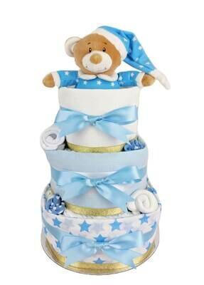 Three Tier Blue & Gold Starbright Nappy Cake