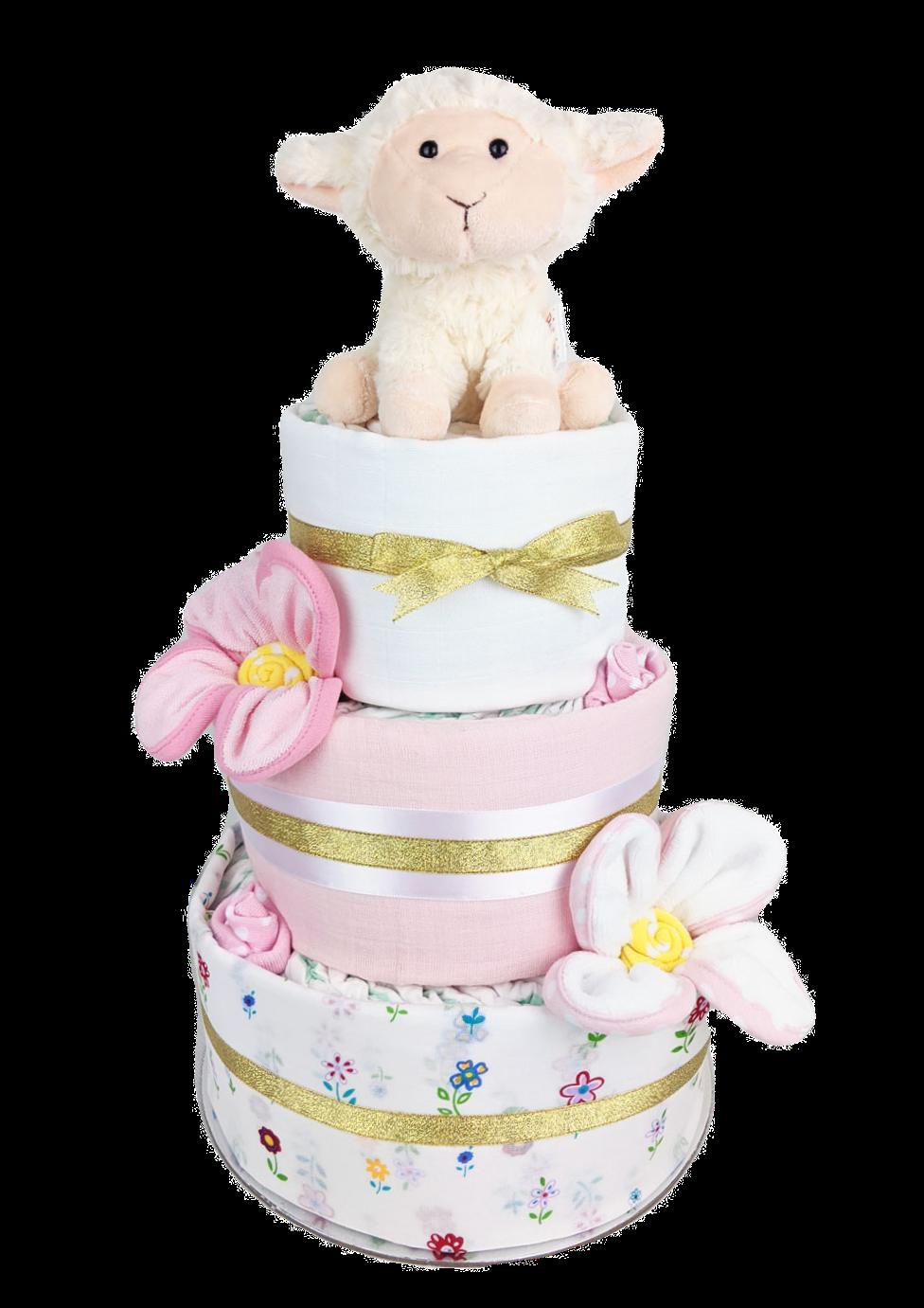 Three Tier Floral Lamb Nappy Cake