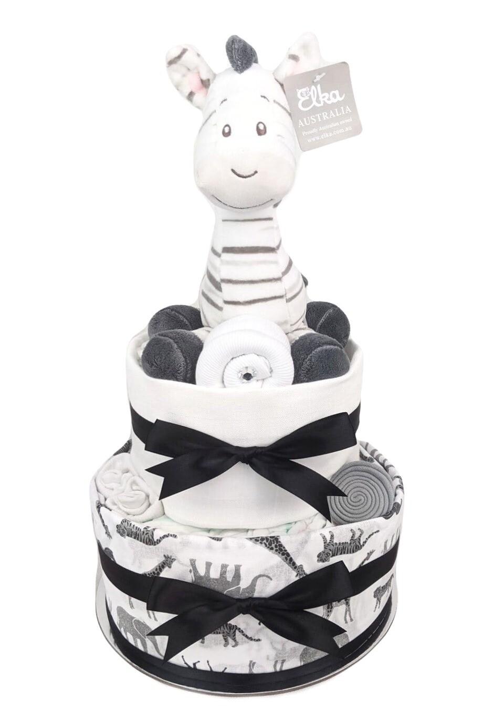 Two Tier Zebra Nappy Cake