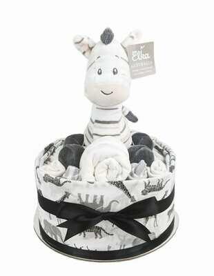 One Tier Zebra Nappy Cake