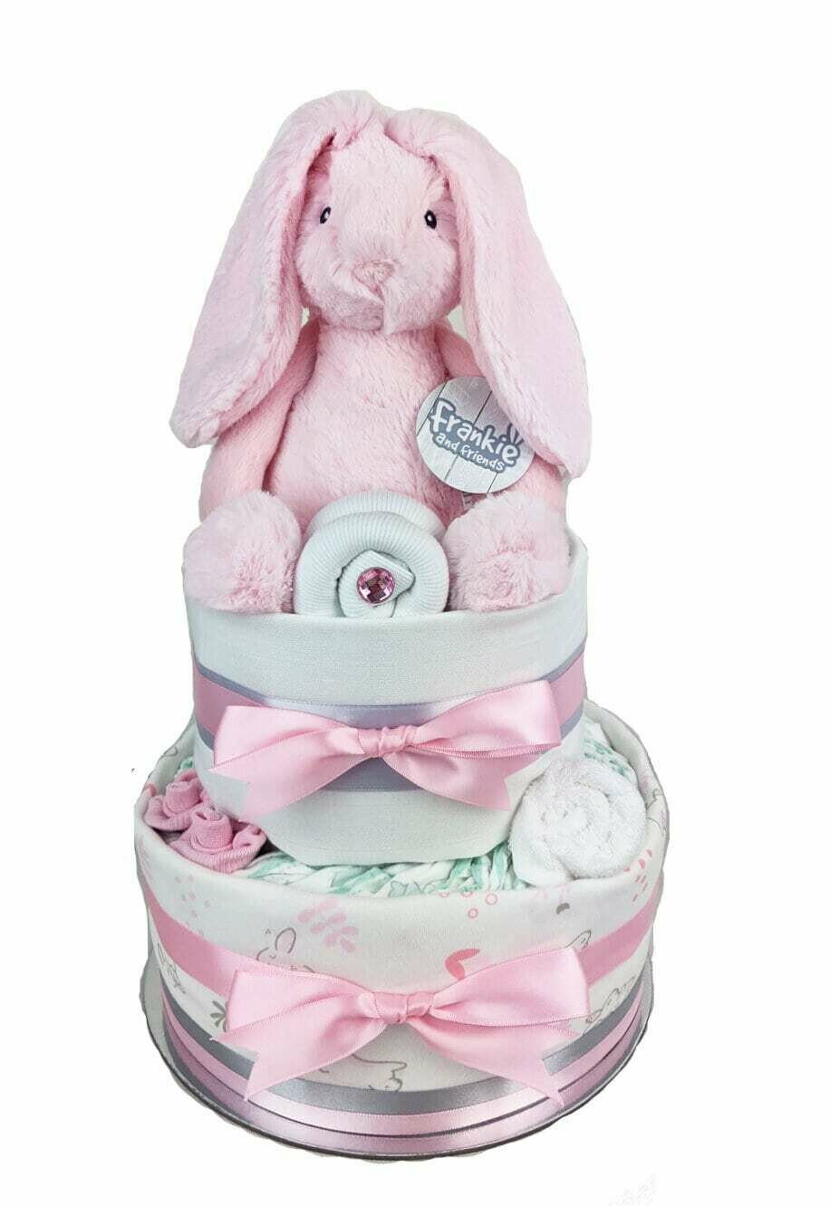 Two Tier Pink Bunny Nappy Cake