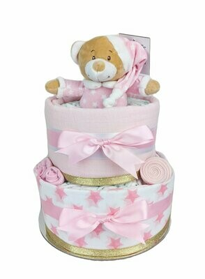 Two Tier Pink & Gold Starbright Nappy Cake