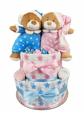 Two Tier Pink and Blue Twin Starbright Nappy Cake