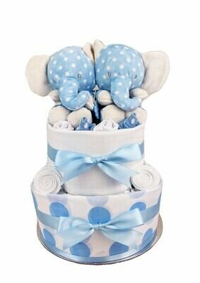 Two Tier Spotty Blue Twins Nappy Cake