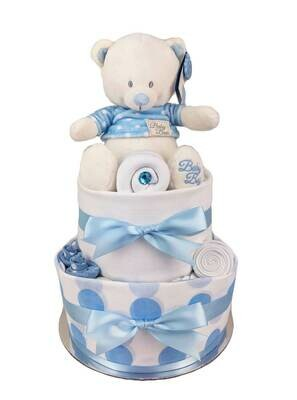 Two Tier Spotty Blue Teddy Nappy Cake