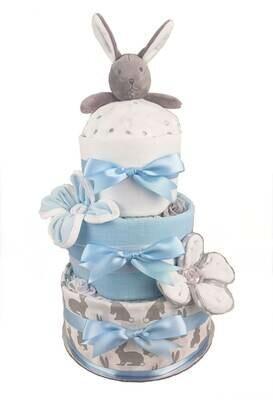 Three Tier Blue Bunny Comforter Nappy Cake