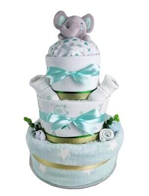 Three Tier Mint & Grey Elephant Nappy Cake