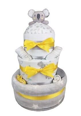 Three Tier Yellow Baby Koala Nappy Cake