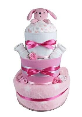 Three Tier Pink Bunny Comforter Nappy Cake