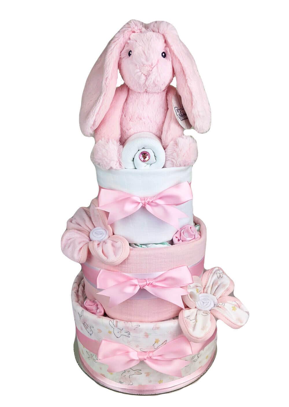 Three Tier Pink Bunny Nappy Cake