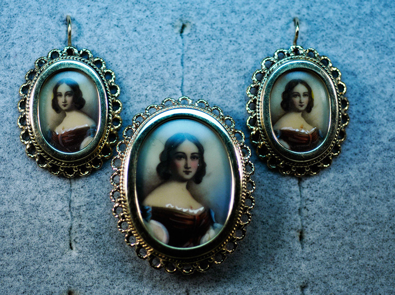 Earring/Pin Miniature Portrait Set