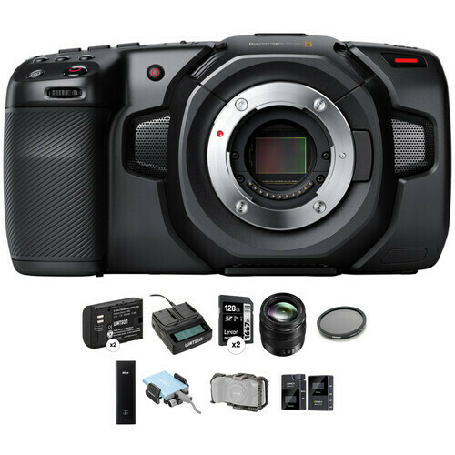 Blackmagic Design Pocket Cinema Camera 4K Kit with 12-35mm Zoom, 512GB SSD, Cage & Mic
