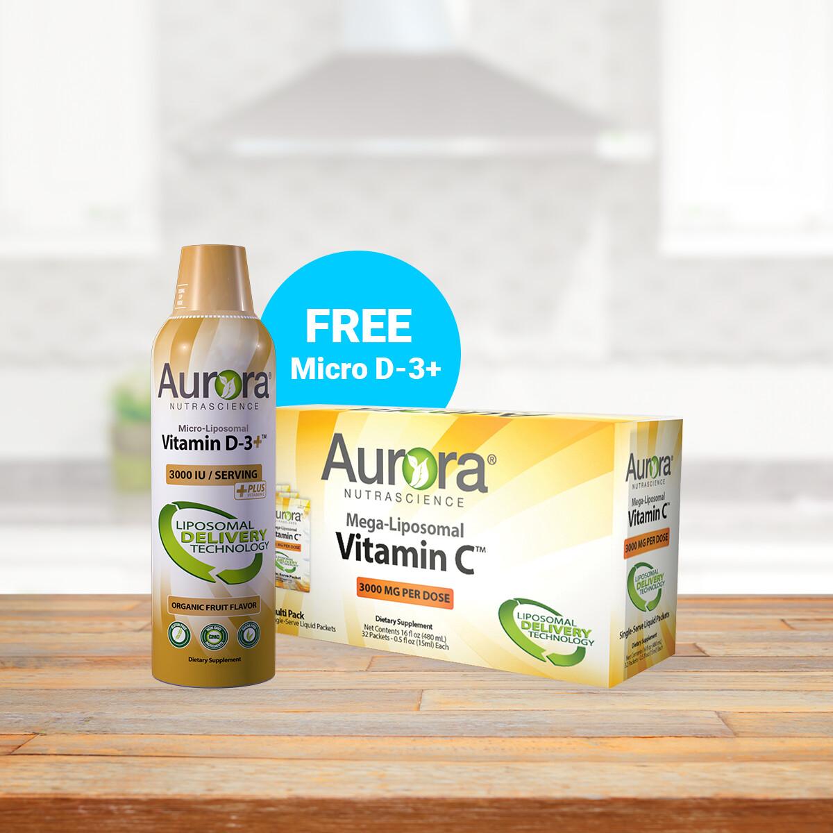 Mega-Liposomal Vitamin C Packets & Micro-Liposomal Vitamin D-3+ (16 OZ / 480ml & 5.4OZ / 160ml)